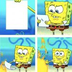 Spongebob Burning Paper