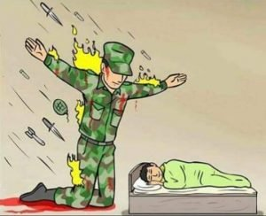 Soldier protecting sleeping child