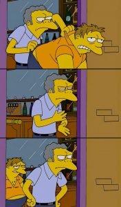 Moe throws Barney