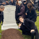 Grant Gustin over grave