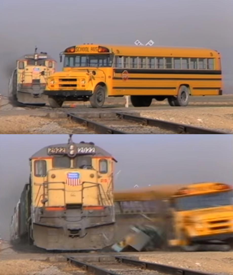 A train hitting a school bus