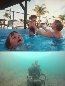 Mother Ignoring Kid Drowning In A Pool